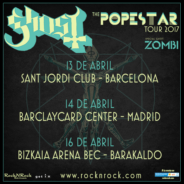 GHOST - 13  Abril- BARCELONA- 14  Abril -MADRID - 16 Abril -BARAKALDO