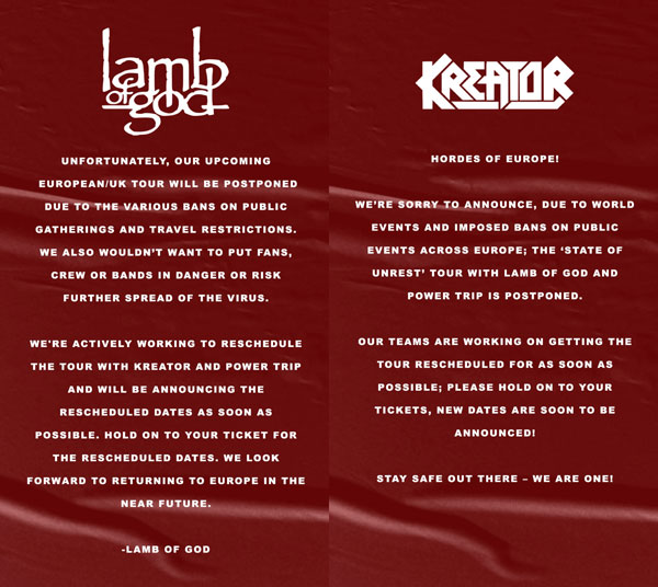 GIRA DE LAMB OF GOD Y KREATOR APLAZADA