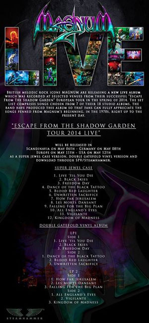 MAGNUM - Escape From The Sadow Garden - Live 2014