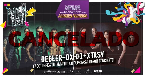 Cancelado el concierto de DEBLER, XTASY y ÓXIDO en Pamplona